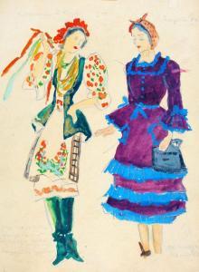"""Проект за костюми към оперетата """"Взаимна любов"""" на С. Кац, 1951 г."""